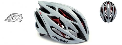 CASCO RUDY PROYECT STERLING WHITE-RED MATTE T-S/M